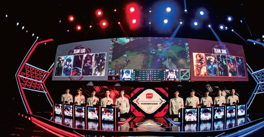 League of Legends being played in LGD Venu in Hangzhou, China