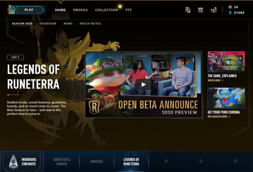 Announcement for Open Beta for Legends of Runterra by Riot Games