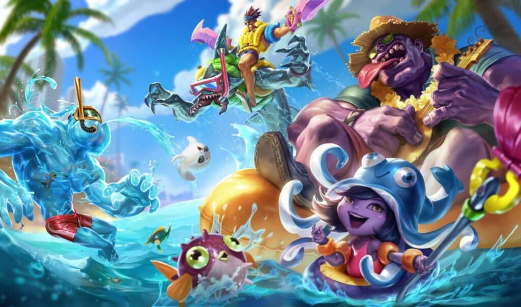 Pool Party Skins Splash Art in League of Legends.
