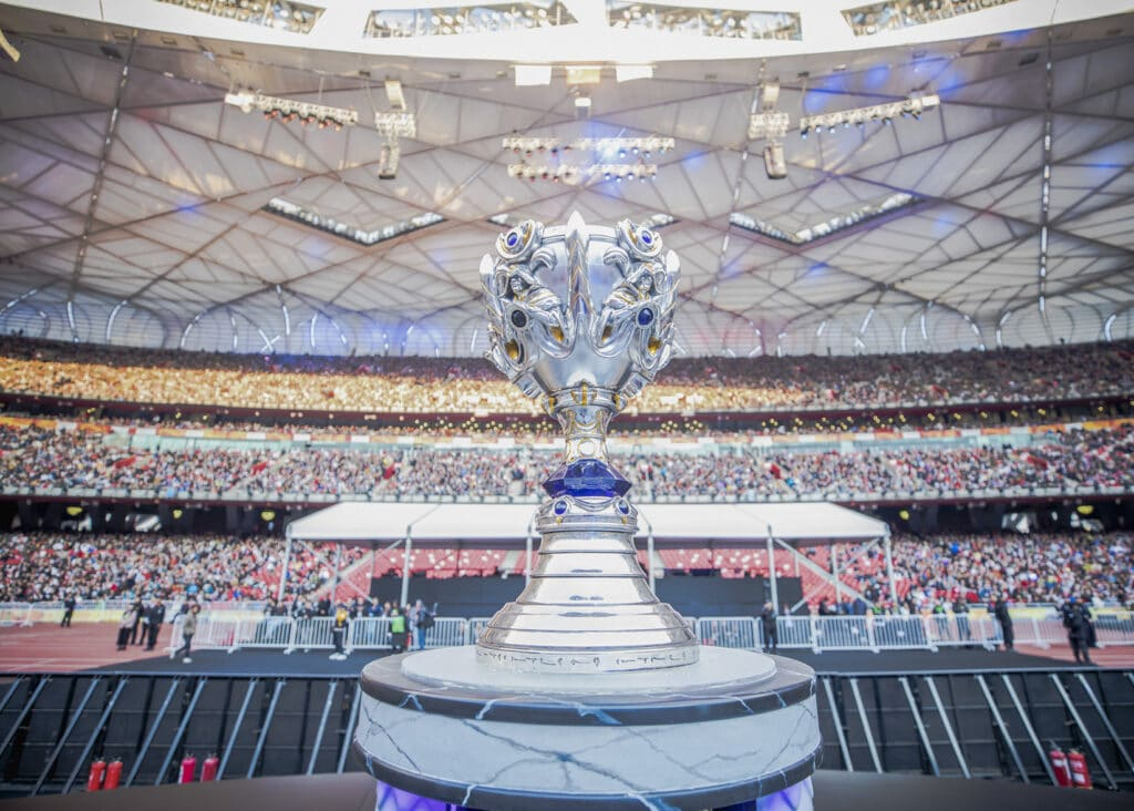 Trophy from League of Legends 2017 Worlds Finals at Brid's Nest in Beijing, China