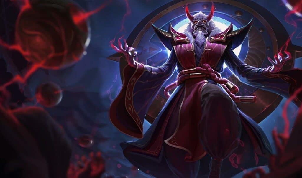 Blood Moon Zilean Skin Splash Art in League of Legends.