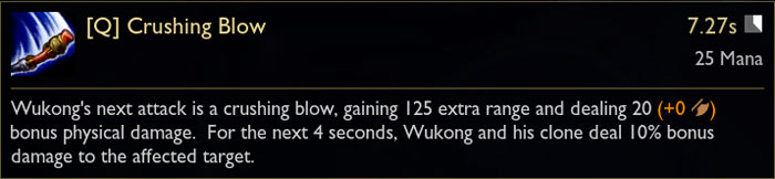 Wukong Q Ability Tooltip in League of Legends from PBE