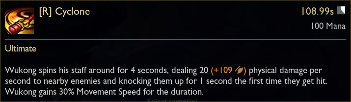 Wukong R Ability Tooltip in League of Legends