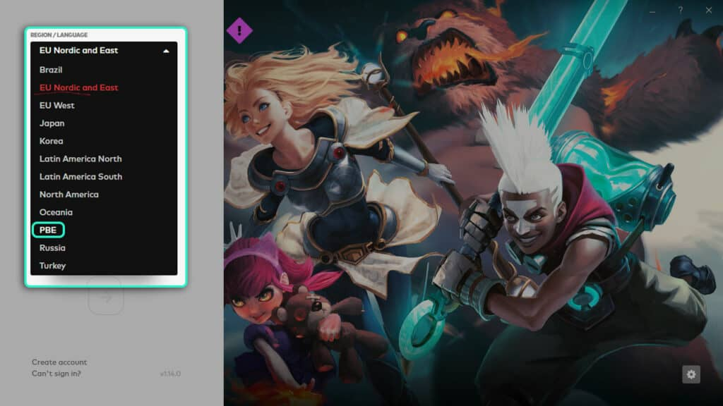 Switching to PBE server in League of Legends launcher.
